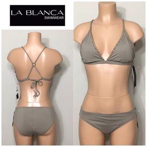 La Blanca Deco Studded bikini set. NWT
